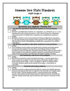 $1.50 Common Core Checklist for 3-5. Language Arts and Math