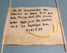 Tea died scroll for Scripture verses.