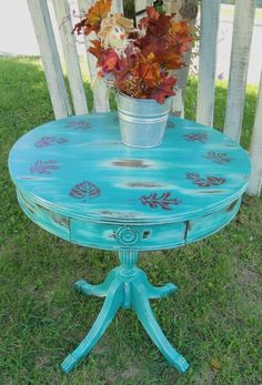 Rustic Shabby Drum Table. Painted with Chalk Paint® decorative paint by Annie Sloan in Florence over white and Emperor's Silk.
