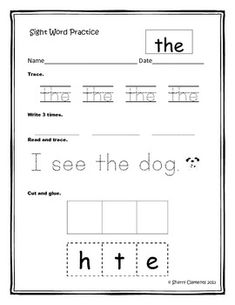 This sight word practice (set 1) is great for morning work, homework, literacy centers, word work, or any other independent or small group work. Students trace the sight word, write the sight word independently, read and trace a sentence with the sight word, and cut and glue the letters in the sight word to spell word correctly.