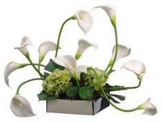 """Calla Lily-Hydrangea Silk Flower Arrangment ARWF2886. 18""""Hx30""""Wx19""""L Calla Lily/Hydrangea in Ceramic Dish White Green"""