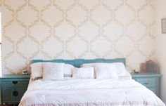 Our Large Acanthus Trellis stencil in neutral tones accented with lovely blue painted furniture | Royal Design Studio