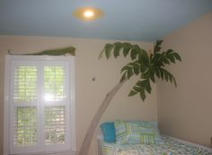 simplethingspainting.com  Girl's Room painted by Karen Steele  Palm Tree. Florida Theme