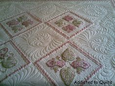 Janet Sansom's embroidery designs; quilted by Addicted to Quilts - WHOA!