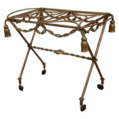 Vintage Brass Tea or Serving Cart with Rope Detailing
