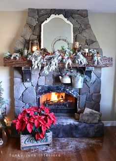 A junk inspired Christmas mantel with a crate poinsettia crate via www.funkyjunkinte...