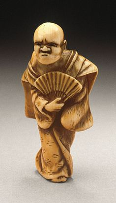 Japan Summer Heat, mid-19th century Netsuke, Ivory with staining, sumi,