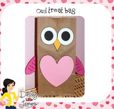holiday, craft, valentin bag, treat bags, valentine day, owl valentin, owls, owl treat, kid