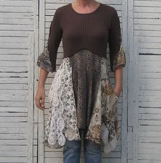 Upcycled Tunic, Upcycled Clothing, Wearable Art, Women, Earth Colors, Romantic Clothing, Size Small/Medium