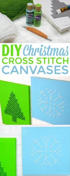 These DIY Christmas Cross Stitch Canvases are the perfect  festive Christmas decor and would also make a great handmade gift. They are  pretty easy to make too #christmas  #diychristmas #holidays #diyholidayideas #diychristmasideas #diychristmasdecor  #diychristmasgiftideas #christmascrafts #christmaskidcrafts #diygiftideas  #christmasdiy #christmascrafts #diychristmasideas