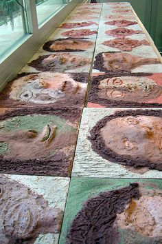 Self portraits painted with colored cement! <3