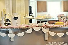 doily banner and cupcake wrappers