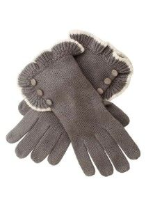 Gray gloves, ruffles and buttons