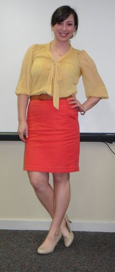 yellow bow blouse, coral pencil skirt, nude shoes Nude Shoe, Pencil Skirt