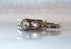Half Carat Diamond Art Deco Three Band by adamfosterjewelry