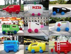 Reutilizando botellas para fabricar divertidos coches de juguete.