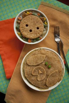 Hearty pot pie, really filling vegan meal anyone would be happy with...love the cute option for kids ; )