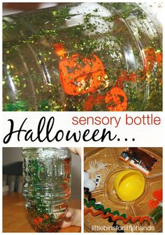 // Halloween Sensory Bottle Simple To Make Sensory Play Fun And Easy Halloween Activity Halloween Sensory Bottle My son loves to shake and stare at these sensory bottles! We even got into rolling them around. This is about the only time I don't mind glitter too! He was so excited when he ...