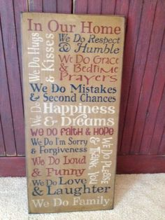In Our Home We Do Large Family Typograph by KimsKustomKreations1, $35.00