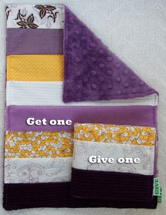 Baby Girl Sensory Security Blanket Lovey - purple sunrise - Get One, Give One to babies in Kenya, Africa, $30.00
