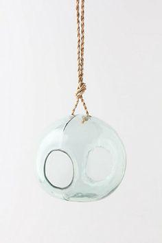 Round Recycled Glass Birdfeeder  #anthropologie