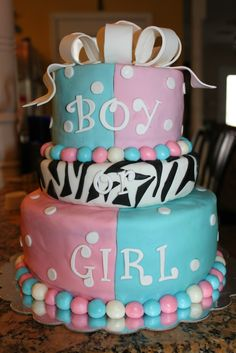 Baby gender reveal cake.  This was so fun to make!!!!