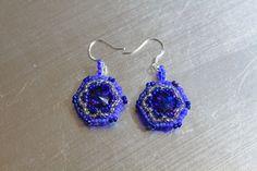 Purple Blue Hand Woven Rivoli Earrings by IrishExpressions on Etsy, $25.00