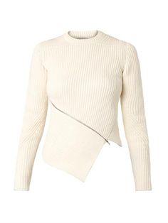 Alexander Wang Asymmetric zip ribbed-knit sweater