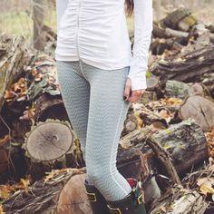 Zigzag print graphite leggings. 'Summit Leggings' from Albion