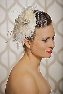 bridal fascinator, birdcage veil, wedding headpieces