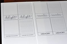 Project Life pages for various projects...great idea!