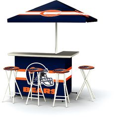 This would be fun, plus it's portable - Hello tailgating! NFL Chicago Bears Portable Bar with Stools - NFLShop.com