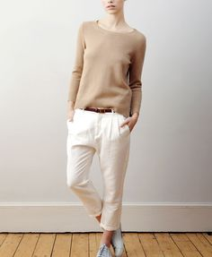 fashion, cloth, style, knit sweaters, studio nicholson, woman influenc, casual outfits, trouser, color scheme