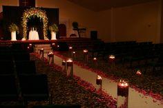 aisle decorations, ceremoni idea, float candl, aisl decor, floating candles