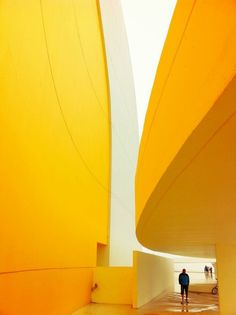 Yellow Curves.The Oscar Niemeyer International Cultural Center, Avilés, Asturias - Spain by Oscar Niemeyer, Architect