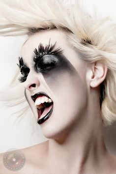 Extreme black and white makeup black lips black eyes