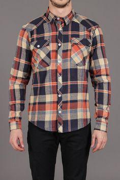 Matter Orange Navy Plaid 2 Pocket Shirt / by Arsnl
