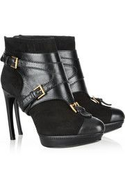 Alexander McQueen Leopold suede and leather ankle boots