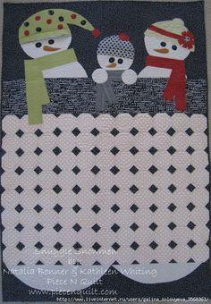 painel ou cobertor de bebê free tutori, applique quilts, quilt patterns, snowmen quilt, snowman, snuggl, mug rugs, quilt tutorials, christma
