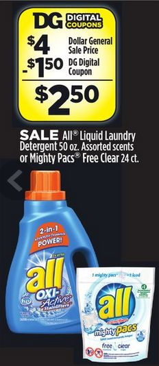 All Laundry Detergent Only $1.50! - http://couponingforfreebies.com/laundry-detergent-1-50/