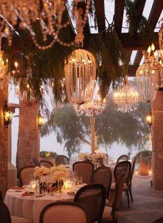 wedding receptions, outside lighting, diy chandelier, wedding lighting, chandeliers, outdoor weddings, parti, outdoor receptions, theme weddings