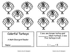 FREE - Turkey Themed Math Emergent Reader for Kindergarten - It integrates sight words, color words, number words, and early addition skills (ways to make 5).
