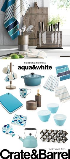 Sunny aqua and crisp white brightens the kitchen for a spring refresh.