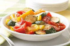 Zesty Grilled Veggies recipe - Better-for-you grilled veggies get a flavor boost from Italian dressing and grated Parm. This zesty side is grilled meat's perfect partner.