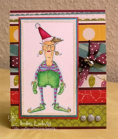 Santa's Helper Eunice from Art Impressions.  Love the bright colors on this Christmas card.