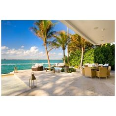 Spectacular Waterfront Residence with Infinity Pool in Miami Beach ❤ liked on Polyvore