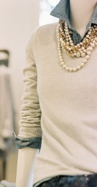 Cashmere, denim (or Chambray) and pearls ...what a classic! Love this look, makes me think of Sunday brunches in Fall & Winter.