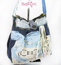 Blue Suedewhite Bohemian Purse Gypsy  Bag Carpet by Bagzgirl, $85.00