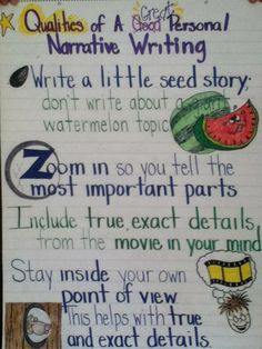 Qualities of great personal narrative writing