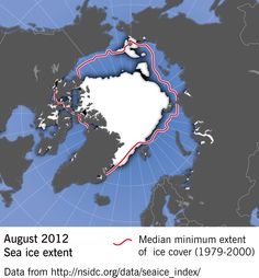 Arctic sea ice extent, August 2012. The summer of 2012 the melting season for the sea ice in the #Arctic reached a record low - 4.72 million sqkm. The extent of the ice is an important indicator for climate change and global warming. This #map is prepared by Hugo Ahlenius, #Nordpil using data from #NSIDC. #climatechange #ice #globalwarming